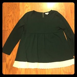 Forest green babydoll sweater with cream eyelets.
